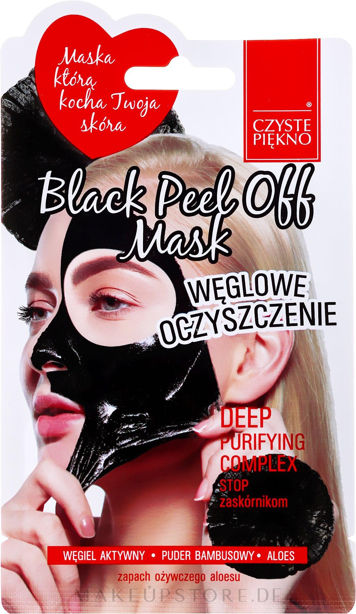 Schwarze Peel-Off-Maske für das Gesicht - Czyste Piekno Black Peel Off Mask — Bild 7 ml