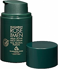 Düfte, Parfümerie und Kosmetik Feuchtigkeitsspendende Gesichtscreme für Männer mit Hyaluronsäure, bulgarischem Rosenöl und Rosenwasser - Bulgarian Rose For Men Aqua Active Face Cream