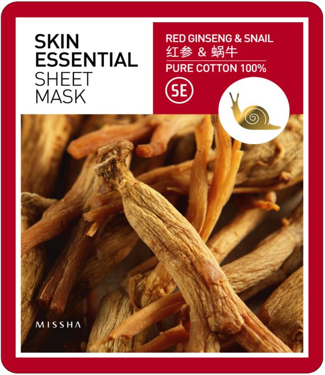 Feuchtigkeitsspendende Gesichtsmaske - Missha Skin Essential Sheet Mask Ginseng & Snail — Bild N1