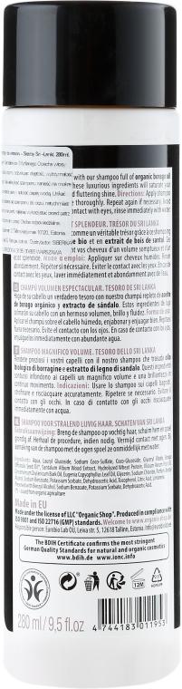 Volumen Shampoo mit Bio-Boragoöl & Sandelholzextrakt - Organic Shop Organic Sandal and Indian Nut Volume Shampoo — Bild N2