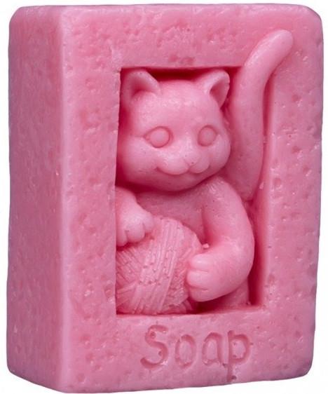 Handgemachte Naturseife Katze mit einer Schlaufe rosa - LaQ Happy Soaps — Bild N1