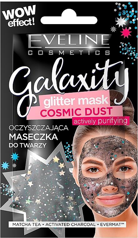 Intensiv reinigende Gesichtsmaske mit Matcha-Tee und Aktivkohle und Glitzerpartikeln - Eveline Cosmetics Galaxity Glitter Mask — Bild N1