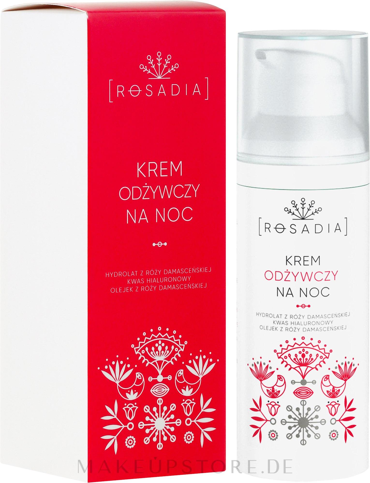 Pflegende Nachtcreme mit Damaszener Rosenwasser und Hyaluronsäure - Rosadia — Bild 50 ml