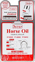 Düfte, Parfümerie und Kosmetik Pflegende 3-Schritt-Gesichtsmaske - Bergamo 3-Step Mask Pack 03 Horse Oil