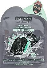 Düfte, Parfümerie und Kosmetik Detox Tuchmaske für das Gesicht mit Aktivkohle und Meersalz - Freeman Detoxifying Sheet Mask