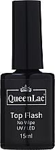 Düfte, Parfümerie und Kosmetik Gel Nagelüberlack ohne Dispersionsschicht - QueenLac Top Flash No Wipe UV/LED