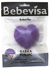 Düfte, Parfümerie und Kosmetik Peelingschwamm für Gesicht Lavendel mit Konjak-Wurzel - Bebevisa Konjac Sponge Heart