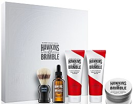 Düfte, Parfümerie und Kosmetik Set - Hawkins & Brimble Men Gift Set (scr/125ml+asb/125ml+br/oil/50ml+sh/cr/100ml+sh/brush)