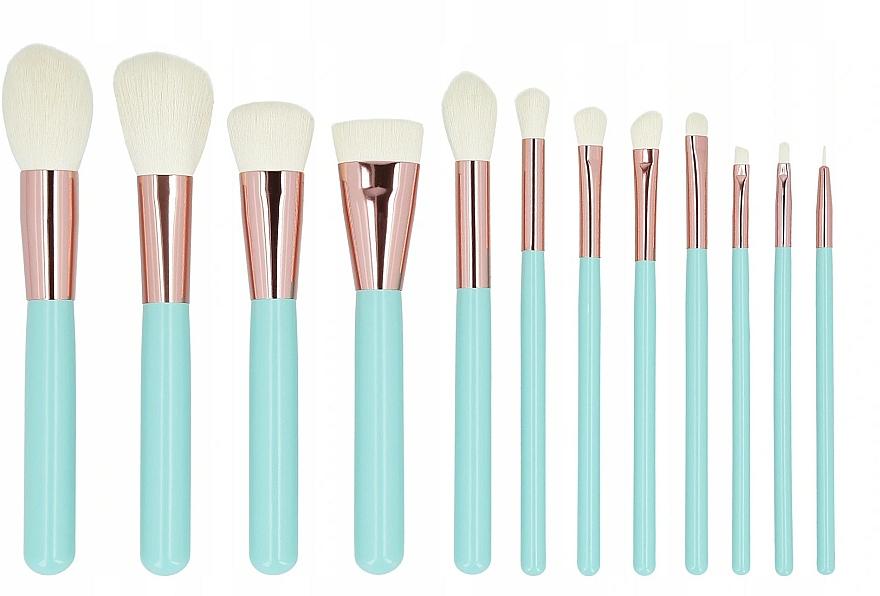 Make-up Pinselset mit Etui 12-tlg. türkis - Tools For Beauty MiMo Turquoise Set — Bild N2