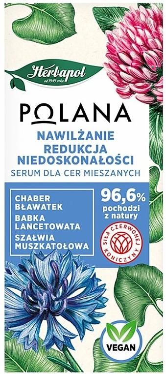 Feuchtigkeitsspendendes Gesichtsserum gegen Unvollkommenheiten für gemischte Haut mit Kornblume, Wegerich und Muskatellersalbei - Polana — Bild N1