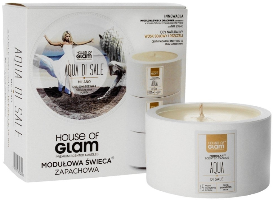 Soja-Duftkerze Aqua Di Sale - House of Glam Raw White Collection Aqua Di Sale Milano Candle — Bild N1