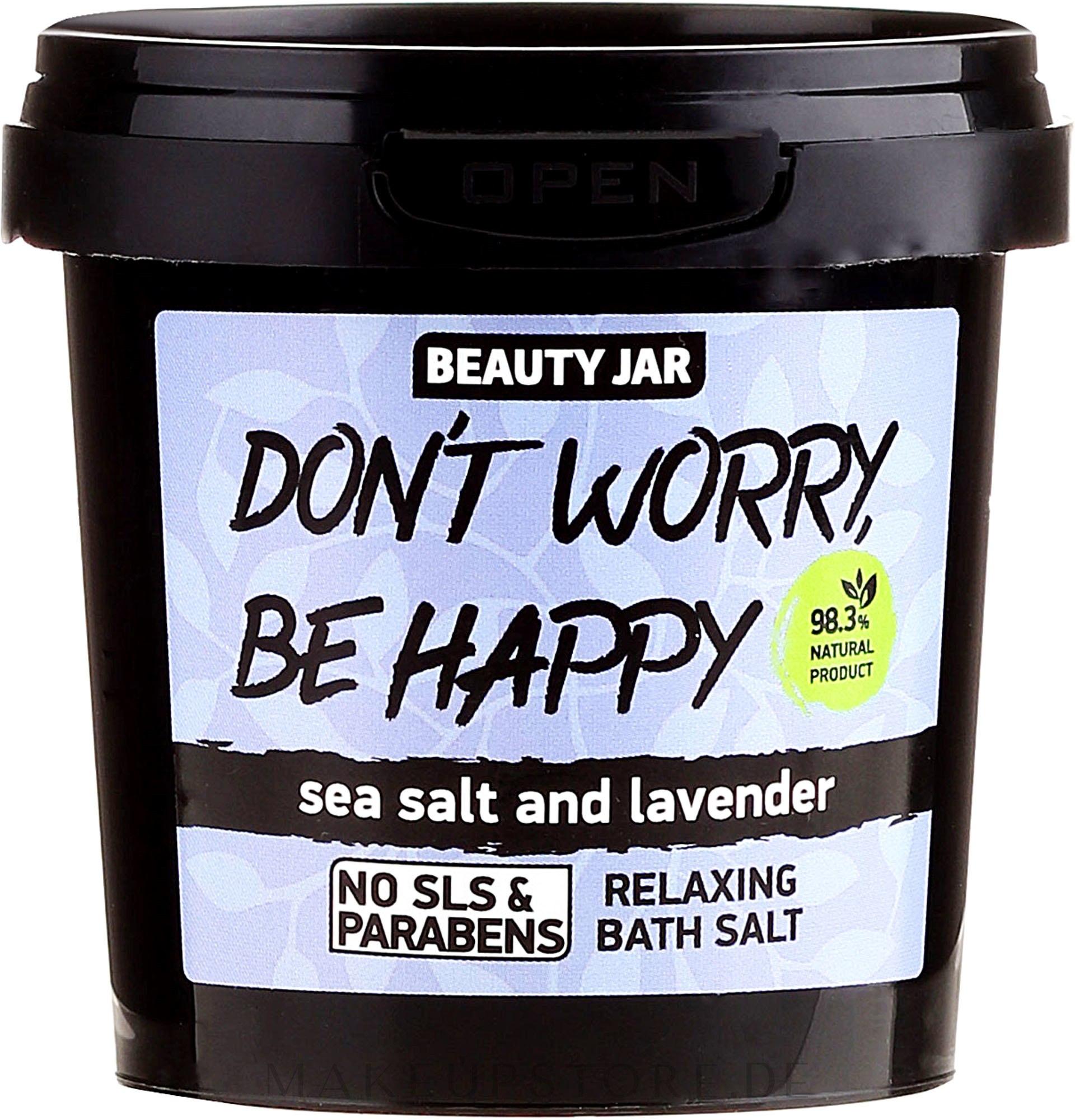 Schäumendes Badesalz mit Meersalz und Lavendel - Beauty Jar Don't Worry Be Happy! — Bild 150 g
