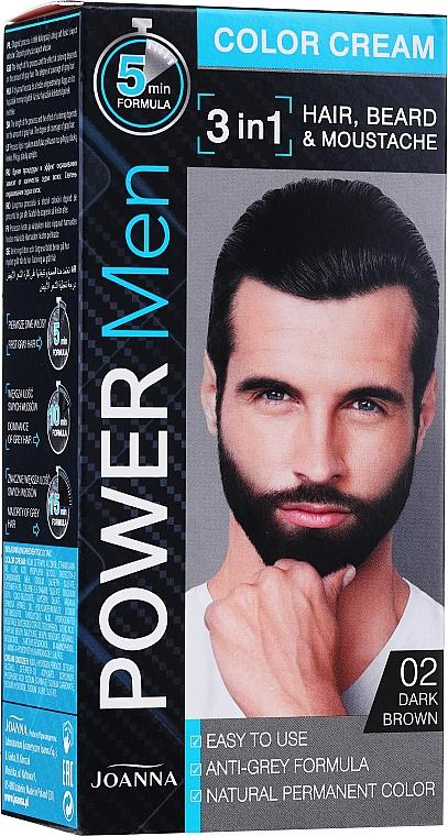 3in1 Farbcreme für Haar, Bart und Schnurrbart - Joanna Power Man Color