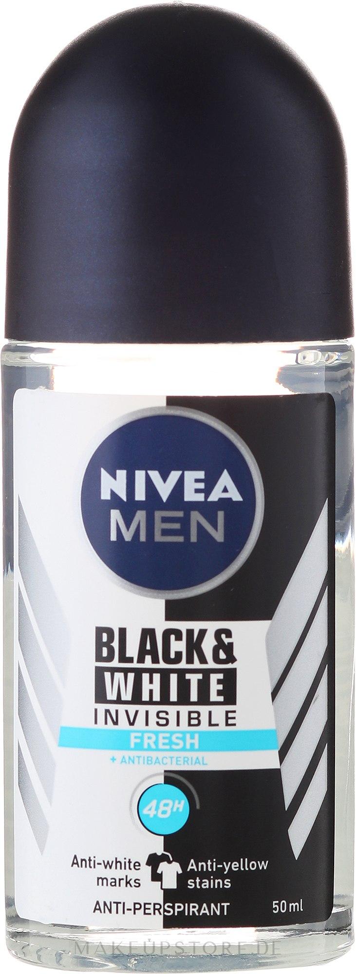 Deo Roll-on Antitranspirant - Nivea Men Invisible Fresh Black & White Antyperspirant — Bild 50 ml