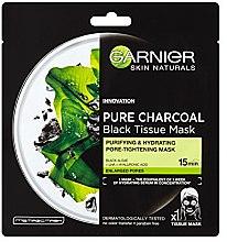 Düfte, Parfümerie und Kosmetik Porenverfeinernde schwarze Tuchmaske mit Bambuskohlenvlies - Garnier Pure Charcoal Tissue Mask