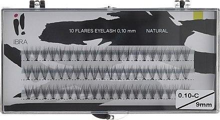 Wimpernbüschel 0.10-C/9 mm - Ibra 10 Flares Eyelash Knot Free Naturals — Bild N1