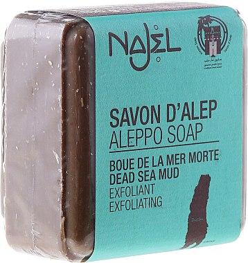 Natürliche Aleppo-Peelingseife mit Schlamm aus dem Toten Meer für Gesicht und Hals - Najel Aleppo Soap Dead Sea Mud — Bild N1