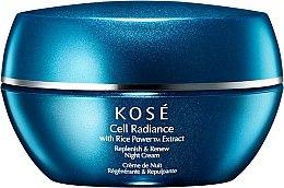 Düfte, Parfümerie und Kosmetik Feuchtigkeitsspendende Nachtcreme mit Grüntee- und Reiskleieextrakt - KOSE Rice Power Extract Cell Radiance Replenish & Renew Night Cream