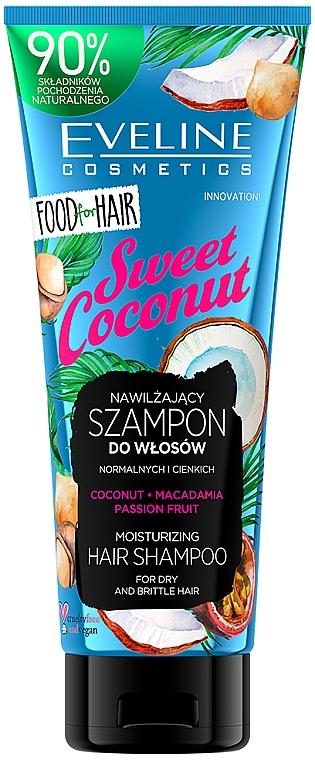 Feuchtigkeitsspendendes Shampoo mit Kokosnuss, Macadamia und Passionsfrucht für trockenes und sprödes Haar - Eveline Cosmetics Food For Hair Sweet Coconut Shampoo — Bild N1