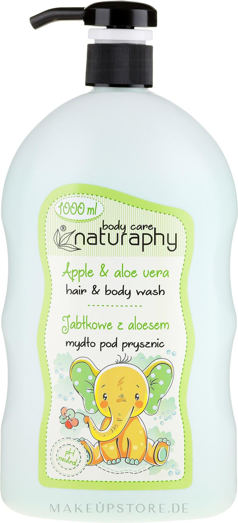 2in1 Shampoo und Duschgel für Kinder mit grünem Apfelduft und Aloe Vera-Extrakt - Bluxcosmetics Naturaphy Hair & Body Wash — Bild 1000 ml