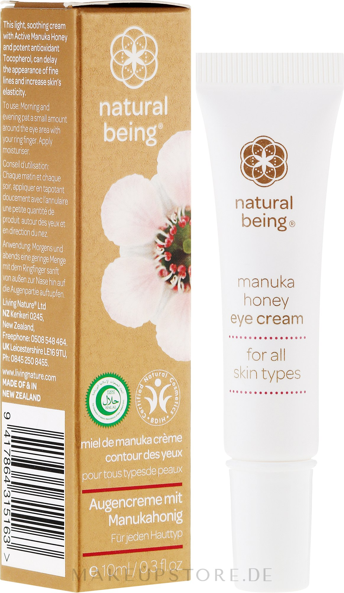 Augenkonturcreme - Natural Being Manuka Honey Eye Cream — Bild 10 ml