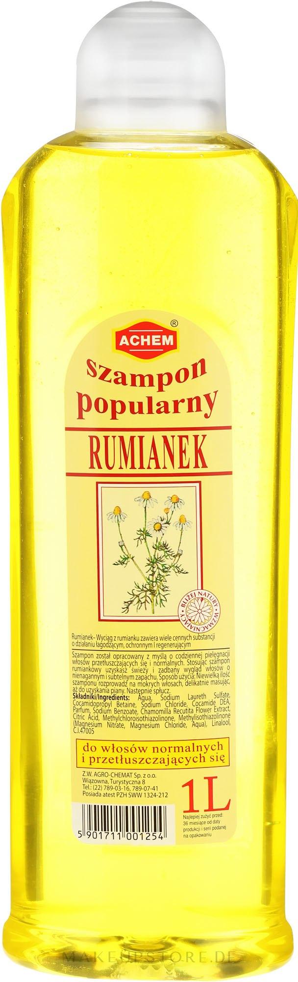 """Shampoo für aufgehelltes und blondes Haar """"Kamille"""" - Achem Popular Camomile Shampoo — Bild 1000 ml"""