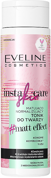 Normalisierendes Gesichtstonikum mit Matteffekt - Eveline Cosmetics Insta Skin Care #Matt Effect — Bild N1