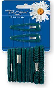Haarschmuck-Set grün - Top Choice (Klick-Klack-Spange + Haargummis 2+12 St.) — Bild N1