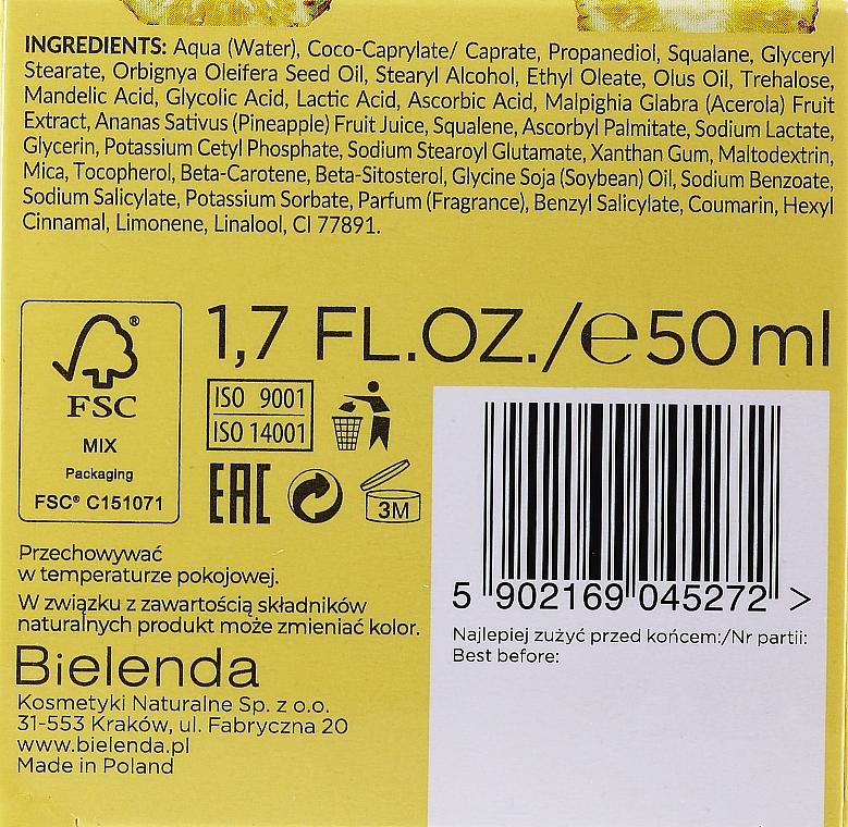 Feuchtigkeitsspendende und aufhellende Gesichtscreme mit Ananassaft, AHA-Säuren und Vitamin C - Bielenda Eco Sorbet Moisturizing & Brightening Face Cream — Bild N3