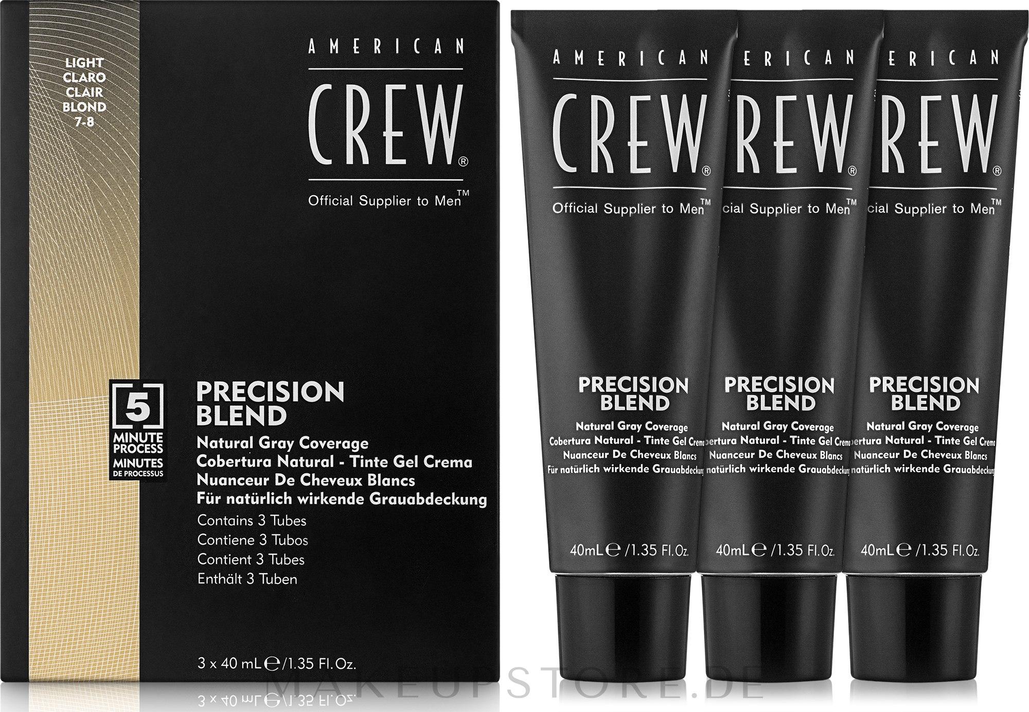 Grauhaarabdeckung Farbe - American Crew Precision Blend Light — Bild 3x40 ml