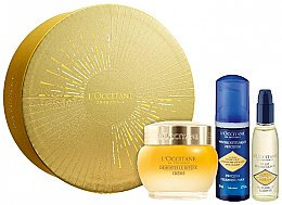Düfte, Parfümerie und Kosmetik Set - L'Occitane Divine Immortelle (f/cr/50ml + cl/foam/50 ml + cl/oil/30ml)