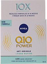 Düfte, Parfümerie und Kosmetik Porenverfeinernde Anti-Falten Tagescreme für das Gesicht mit Coenzym Q10 SPF 15 - Nivea Q10 Power Anti-Wrinkle + Pore Refine Day Cream