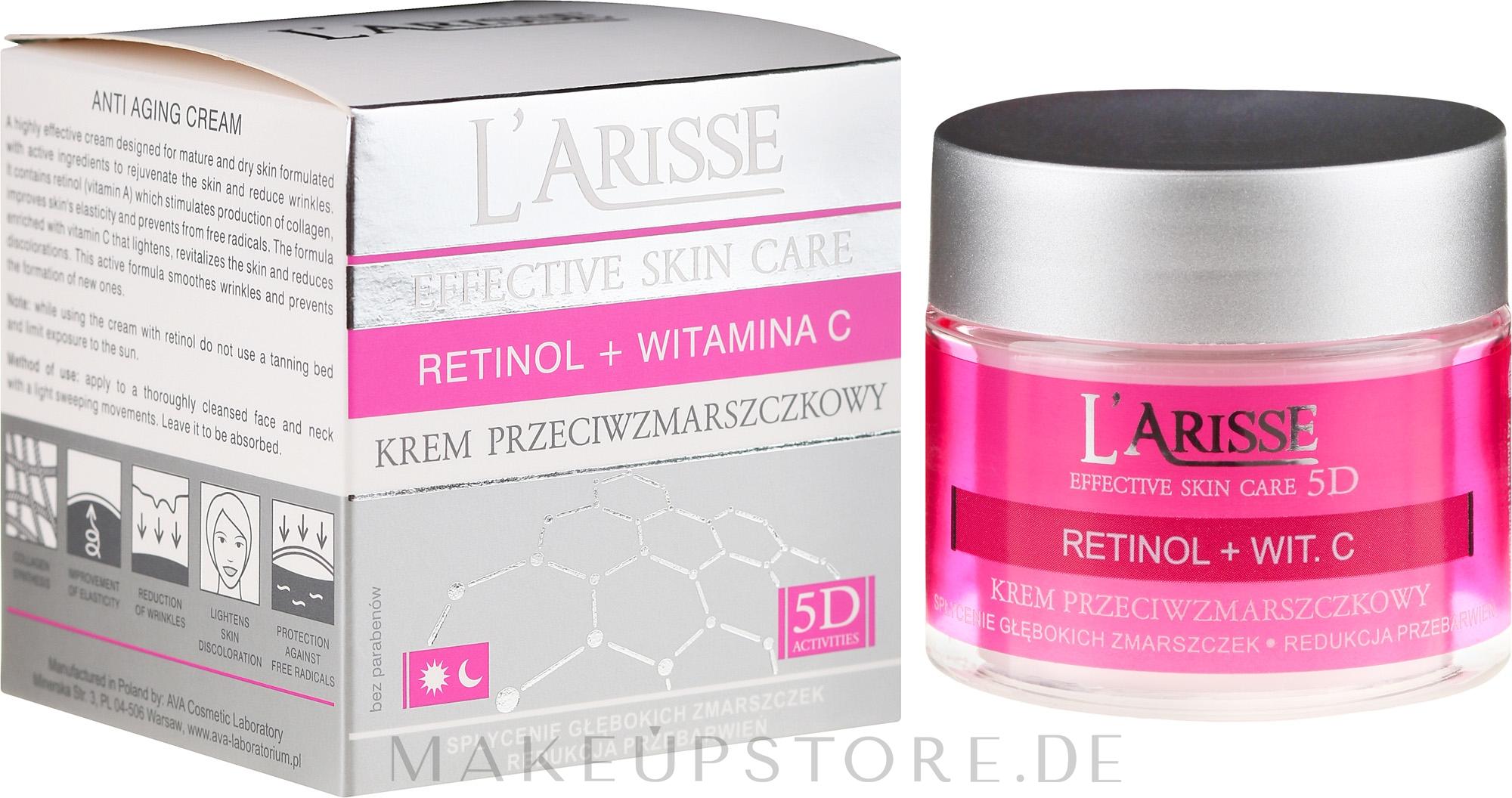 Anti-Aging Gesichtscreme mit Retinol und Vitamin C 50+ - Ava Laboratorium L'Arisse 5D Anti-Wrinkle Cream Retinol + Vitamin C — Bild 50 ml