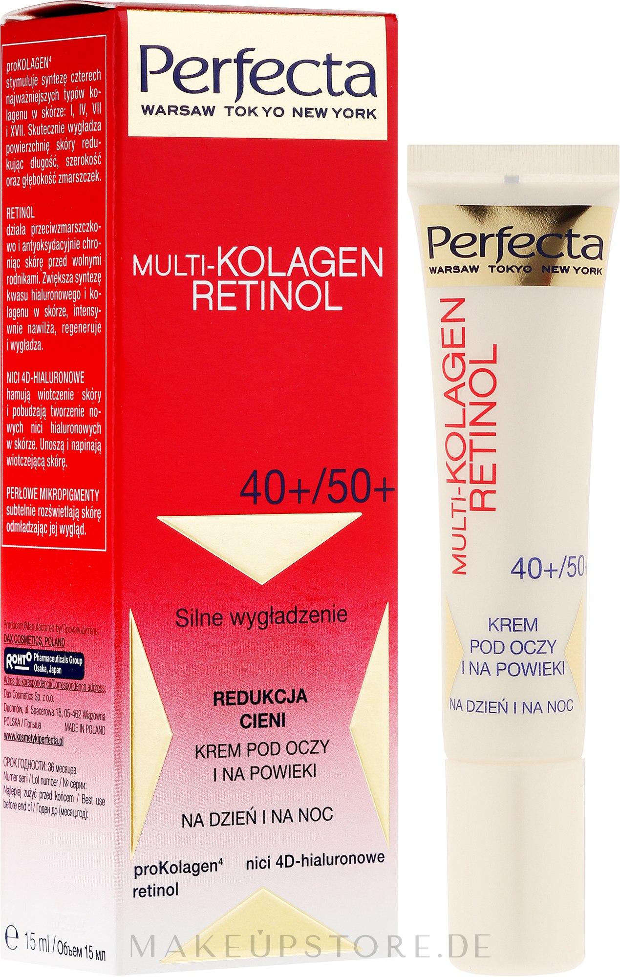 Augenkonturcreme - Dax Cosmetics Perfecta Multi-Collagen Retinol Eye Cream 40+/50+ — Bild 15 ml