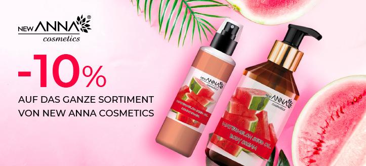 10% Rabatt auf das ganze New Anna Cosmetics Sortiment. Die Preise auf der Website sind inklusive Rabatt