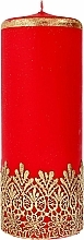 Düfte, Parfümerie und Kosmetik Dekorative Kerze mit Spitzenmuster rot 9x24 cm - Artman Lace Christmas