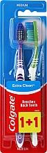 Düfte, Parfümerie und Kosmetik Zahnbürste mittel Extra Clean violett und grün 2 St. - Colgate Extra Clean Medium