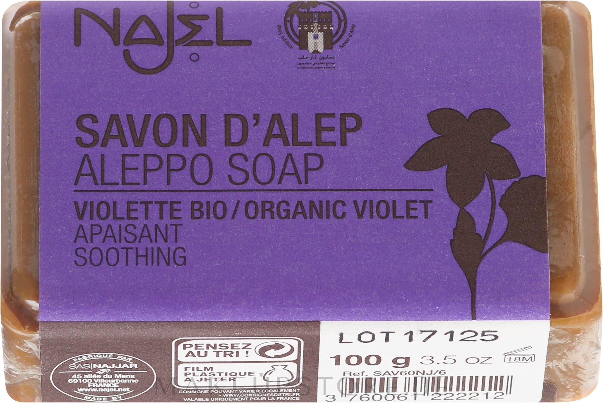 "Seife ""Stiefmütterchen"" - Najel Aleppo Soap Organic Violet Soothing — Bild 100 g"