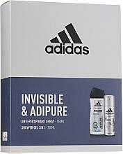 Düfte, Parfümerie und Kosmetik Körperpflegeset - Adidas Pro Invisible & Adipure (Duschgel 250ml + Deospray Antitranspirant 150ml)