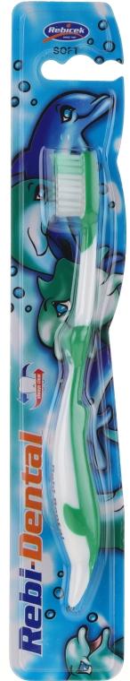 Kinderzahnbürste weich Rebi-Dental M16 grün-weiß - Mattes — Bild N1