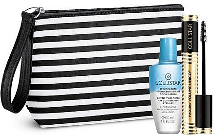 Makeup Set (Wimperntusche 13ml + Make-up Entferner 50ml + Kosmetiktasche) - Collistar Mascara Volume Unico Kit  — Bild N1