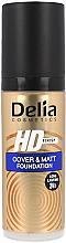 Langanhaltende mattierende Grundierung mit hoher Deckkraft - Delia HD Cover & Matt Foundation — Bild N1