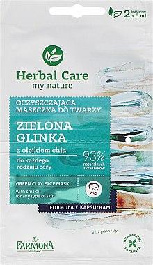 Gesichtsmaske mit grüner Tonerde und Chiaöl - Farmona Herbal Care Green Clay Face Mask — Bild N1