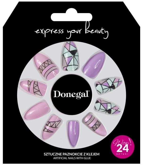 Künstliche Fingernägel inkl. Kleber, rosa mit Geometrie - Donegal Express Your Beauty — Bild N1