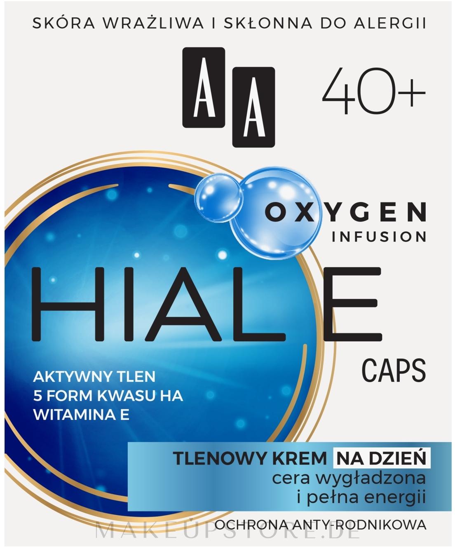 Glättende und feuchtigkeitsspendende Anti-Falten Sauerstoff-Gesichtscreme für den Tag mit Vitamin E 40+ - AA Oxygen Infusion Hial E Caps Day Cream — Bild 50 ml