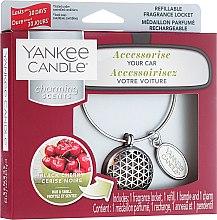 Düfte, Parfümerie und Kosmetik Autoduftanhänger - Yankee Candle Black Cherry Geometric Charming Scents Starter Kit (Medaillon + Duftstein + Charm-Anhänger + Band)