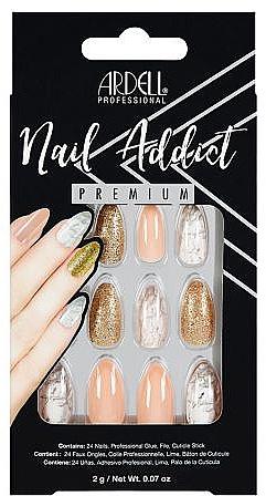 Künstliche Fingernägel inkl. Kleber - Ardell Nail Addict Premium Artifical Nail Set Pink Marble & Gold — Bild N1