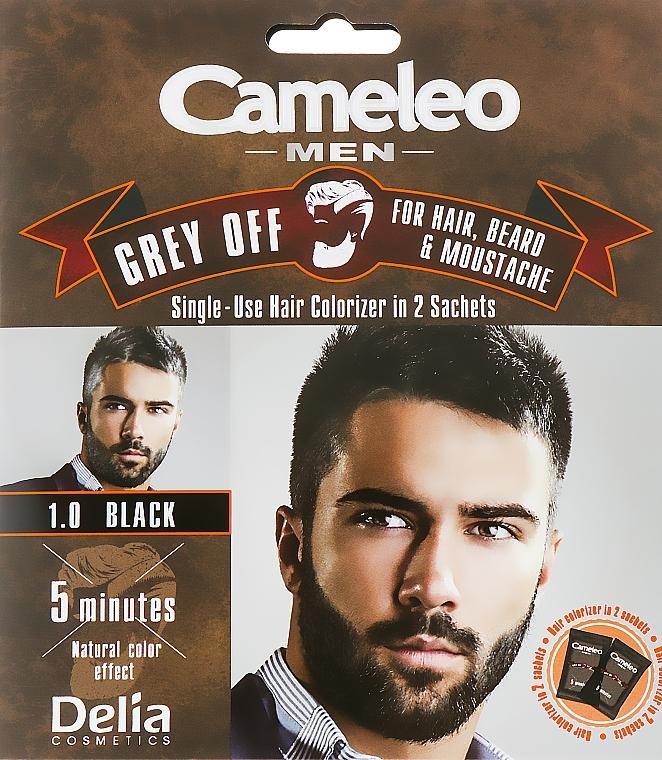Einwegfarbe zum sofortigen Kaschieren grauer Haare für Haar, Bart und Schnurrbart - Delia Cameleo Men
