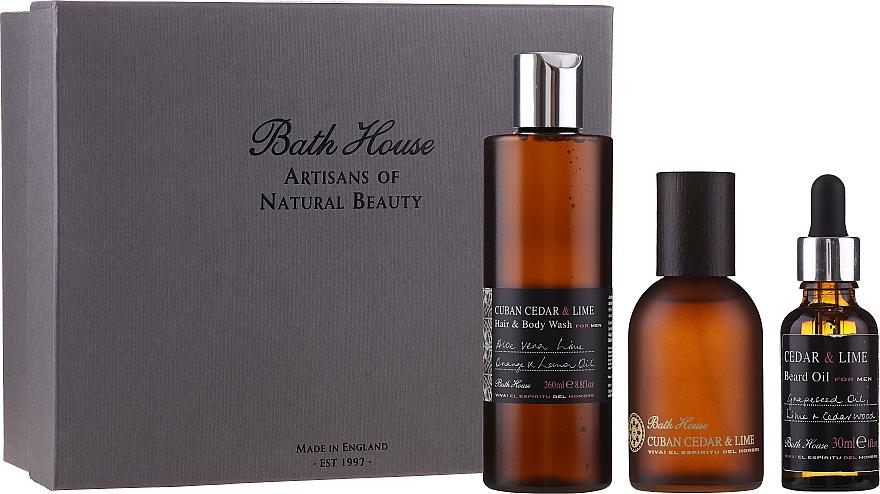 Bath House Cuban Cedar & Lime - Duftset (Eau de Cologne 100ml + Duschgel 260ml + Bartöl 30ml) — Bild N1