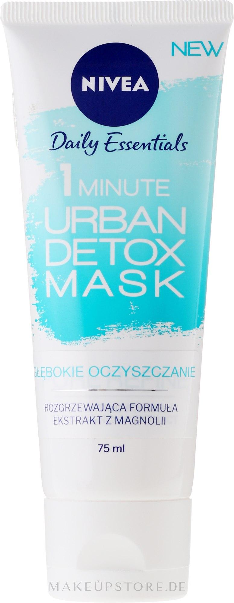 Porenverfeinernde Detox Gesichtsmaske mit Magnolienextrakt - Nivea Daily Essentials 1 Minute Urban Detox Mask — Bild 75 ml